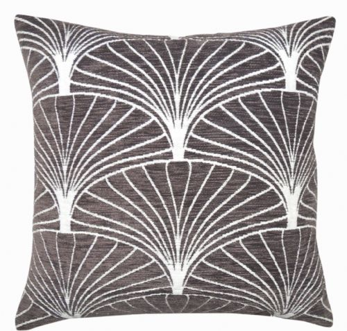 LUXURY SOFT CHENILLE GEOMETRIC SCATTER  FILLED CUSHION CHARCOAL COLOUR